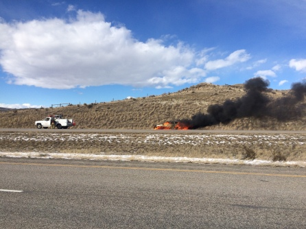 Vehicle in flames I-90